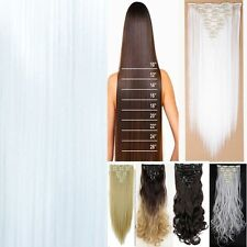"""Cosplay Full Head Clip in Hair Extensions 17-23-26"""" Thick Hairpiece US Fash Ship"""