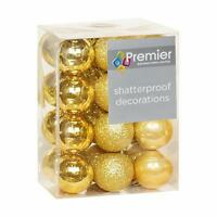 Christmas Tree Decoration 24 Pack 30mm Mini Shatterproof Baubles - GOLD