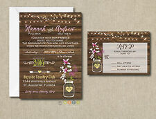 Wedding Invitations Rustic Flowers & Lights 50 Invitations & RSVP Cards