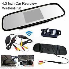 "4.3"" TFT LCD Monitor Mirror Screen Wireless Car Back Up Camera Rear View System"