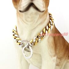 """Pet Dog Choke Chain Choker Collar Strong Silver/Gold Stainless Steel Training24"""""""