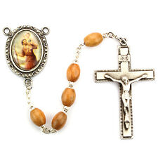 Rosary St. Christopher Deluxe Pewter Rosary 6x8mm Olive Wood Bead Catholic Boxed