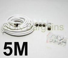5m TV AERIAL COAXIAL CABLE EXTENSION KIT FREEVIEW CABLE PLUGS COAX LEAD