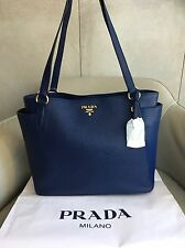 BNWT PRADA vitello Daino 1BG970 Bluette (BLUE) Tote shopping bag