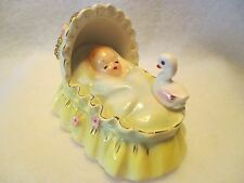 JOSEF ORIGINALS BABY IN YELLOW BASSINET OR CRADLE WITH DUCK HTF