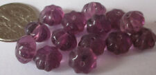 75 Vintage Czech Glass Puffy Amethyst Purple Flower Rondelle Spacer Beads