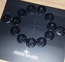 2 x GENUINE NEW ORIGINAL STONE ISLAND JACKET REPLACEMENT BLACK GLOSS BUTTONS