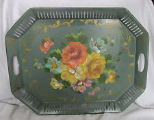Vintage Large Hand Painted Floral Green Tole Reticulated Border Gallery Tray