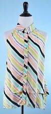 MAEVE $225 ANTHROPOLOGIE Lime Pink Blue Stripe Sleeveless Tunic Top Size 4