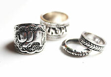 Elephant animal tribal tibetan silver ring set band & midi. Boho/vintage/hippy