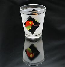 Frosted Souvenir Shot Glass Multi Colored Tropical Birds Red Parret Belize