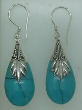 Handcrafted Simulated Turquoise in 925 Silver Teardrop Dangle Earrings Jewellery
