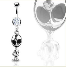 Alien Clear CZ Dangling 14G Belly Ring Body Jewellery