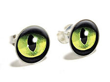 Cat Green Eye Novelty Silver Plated Stud Earrings
