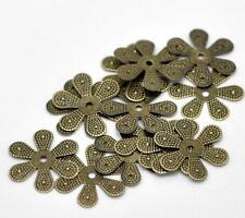 30pc 18mm antique bronze finish filigree wraps/bead caps-1976