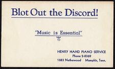 VINTAGE INK BLOTTER*HENRY HAND PIANO SERVICE*MEMPHIS TENNESSEE*1683 NETHERWOOD