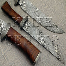BEAUTIFUL CUSTOM HAND MADE DAMASCUS STEEL HUNTING BOWIE KNIFE HANDLE WOOD