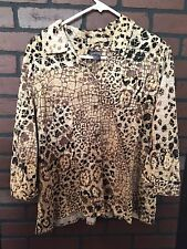 CHICO's Large Sz 3 Additions Shirt Top Blouse Animal Print Gorgeous Cotton