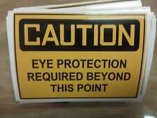 Caution eye protection  sticker