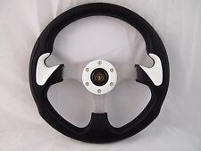 "Boat Steering WHITE wheel With Adapter 3 spoke boats 3/4"" tapered key Marine"