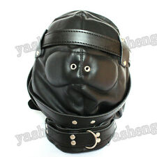 Soft Full Covered Pu Leather Gimp Fetish Bondage Hood Sensory Deprivation Mask