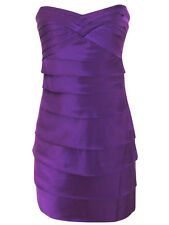 Rubber Ducky gorgeous purple layered stretch satin bust pad party mini dress M