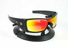 OAKLEY BATWOLF BLACK INK FRAME & REVANT FIRE RED POLARIZED CUSTOM LENSES