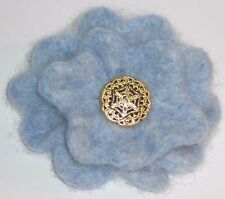 Light Blue Felt 100% Wool Flower Corsage Brooch hippy boho Mother's Day Present
