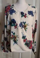 New Womens Off White Floral Eclair Sheer Long Sleeve Blouse Dress Shirt Large