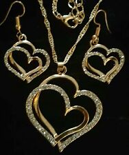 DOUBLE HEART WITH SWAROVSKI CRYSTALS PENDANT/ EARRING YELLOW OVER SILVER/SILVER