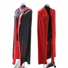 Unisex Halloween Cloak Cape Hooded Halloween Costume Adult Red/Black Duplex
