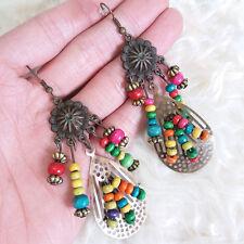 Vintage Hippy Bohemian Boho Antique Womens Hollow Multi Bead Chandelier Earrings