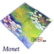 2016 Monet Oil Painting Water Lilies Fashion Art Scarf 100% Silk  free shipping