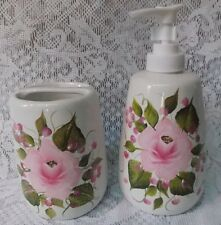 Hand Painted Rose/Roses Soap/Lotion Dispenser & Toothbrush Holder/Single Rose
