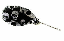 Black Silver Skull Print Feather Hair Clip Races Fascinator Headpiece Goth A72