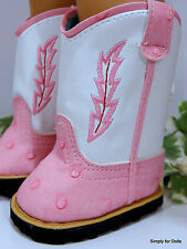 "PINK & WHITE Western COWBOY DOLL BOOTS SHOES fits 18"" AMERICAN GIRL Doll Clothes"
