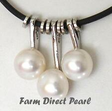 "Genuine White Pearl Pendant Necklace 18"" Inch Rubber String Cultured Freshwater"