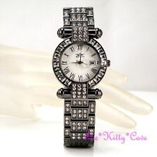 Black Hematite Bling Ladies Classic Date Display Dress Watch w Swarovski Crystal