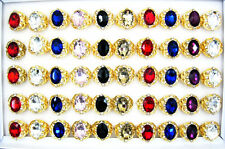Wholesale Jewelry Lots 20Pcs Big Crystal Stone Gold Plated Rings New Free J83