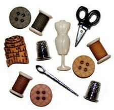 Sewing Room Kit Shaped Buttons - Set of 12 - Thimble Scissors Tape Measure Reel