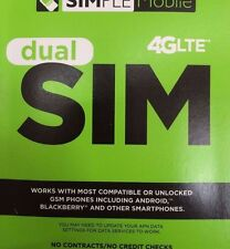 SIMPLE MOBILE DUAL SIM CARD FIRST MONTH Free $40 4G LTE (NO Tracking#)