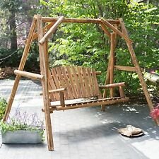 Light Brown Log A-Frame Stand & Hanging Patio Swing Set Outdoor Home Furniture