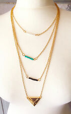 Gold Layered Triangle Arrow Pendant Turquoise Beads Bohemian Necklace Xmas gift