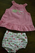 Gymboree 12-18 M baby girl pink turtle dress bloomers summer set