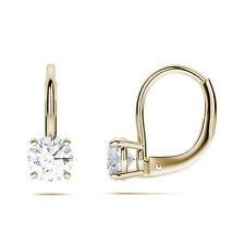 1.5ct Round Cut Solitaire Stud Earrings in Solid 14k Real Yellow Gold  Leverback
