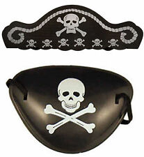 Pirate Hat & Eye Patch Boys Girls Kids Swashbuckle Fancy Dress Costume