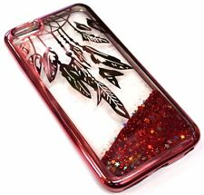 For iPhone 7 Cute Rose Gold Dream Catcher Glitter Sparkle Liquid Waterfall Case