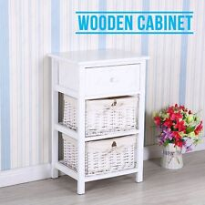 Retro White Shabby Chic Nightstand End Side Bedside Table w/Wicker Storage Wood