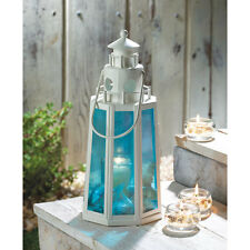 LANTERN SALE  Ocean BLUE LIGHTHOUSE Style Candle LANTERN Lamp WEDDING Decor