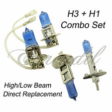 H1 + H3 Combo White Xenon Halogen Headlight #bt5 Bulb High/Low Beam Motorcycle